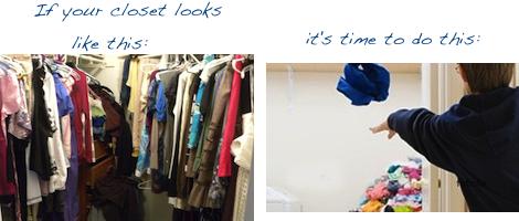 organizing closet, clean out closet