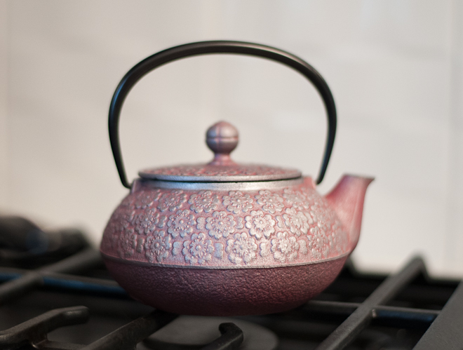 teavana cherry blossoms japanese cast iron teapot