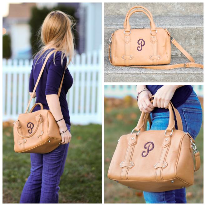 initials camel bag