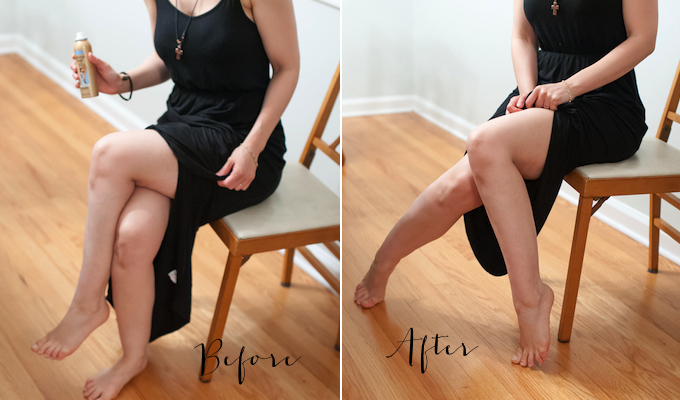 before and after airbrush legs