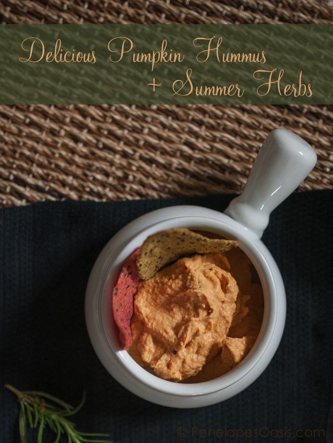 pumpkin hummus with summer herbs