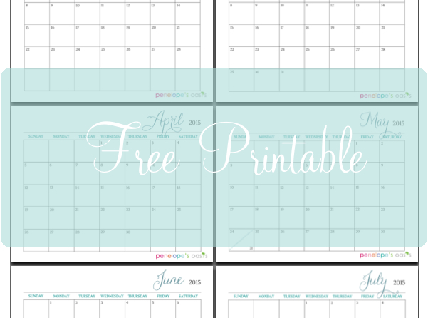2015 Monthly Calendar Printable