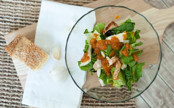 chicken romaine lettuce salad with pumpkin vinaigrette