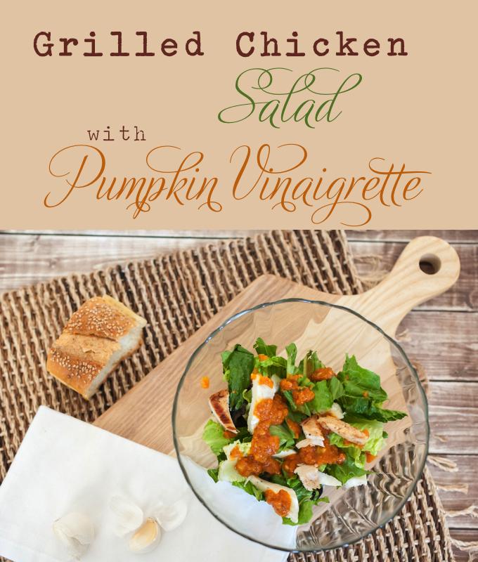 grilled chicken salad with pumpkin vinaigrette