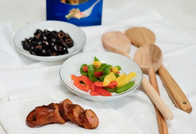 pasta and chorizo ingredients