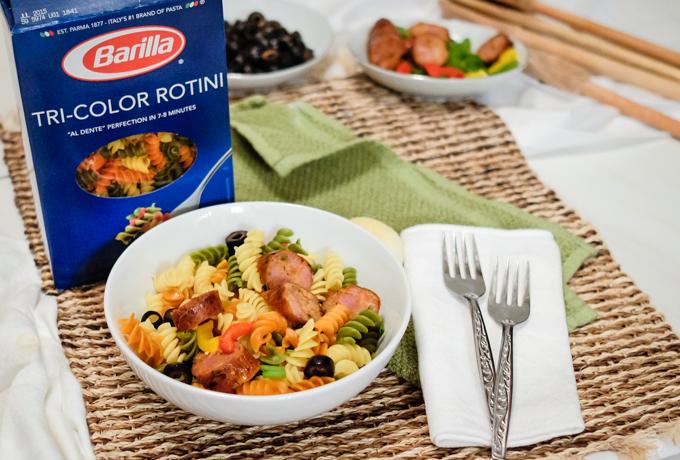 tri color pasta and chorizo recipe