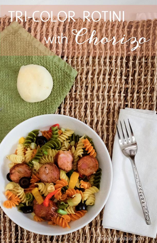 tri-color rotini and chorizo recipe