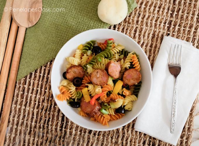 tri color rotini pasta and chorizo recipe