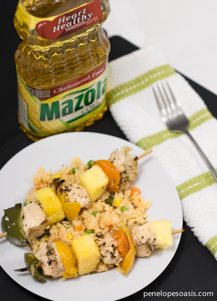 pineapple chicken kebabs with mazola corn oil