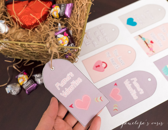 A message of love for your sweet little valentines free valentines day gift basket printable tags negle Image collections