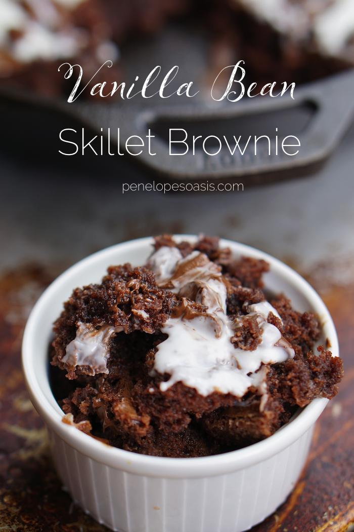 chocolate skillet brownie recipe with vanilla bean cream