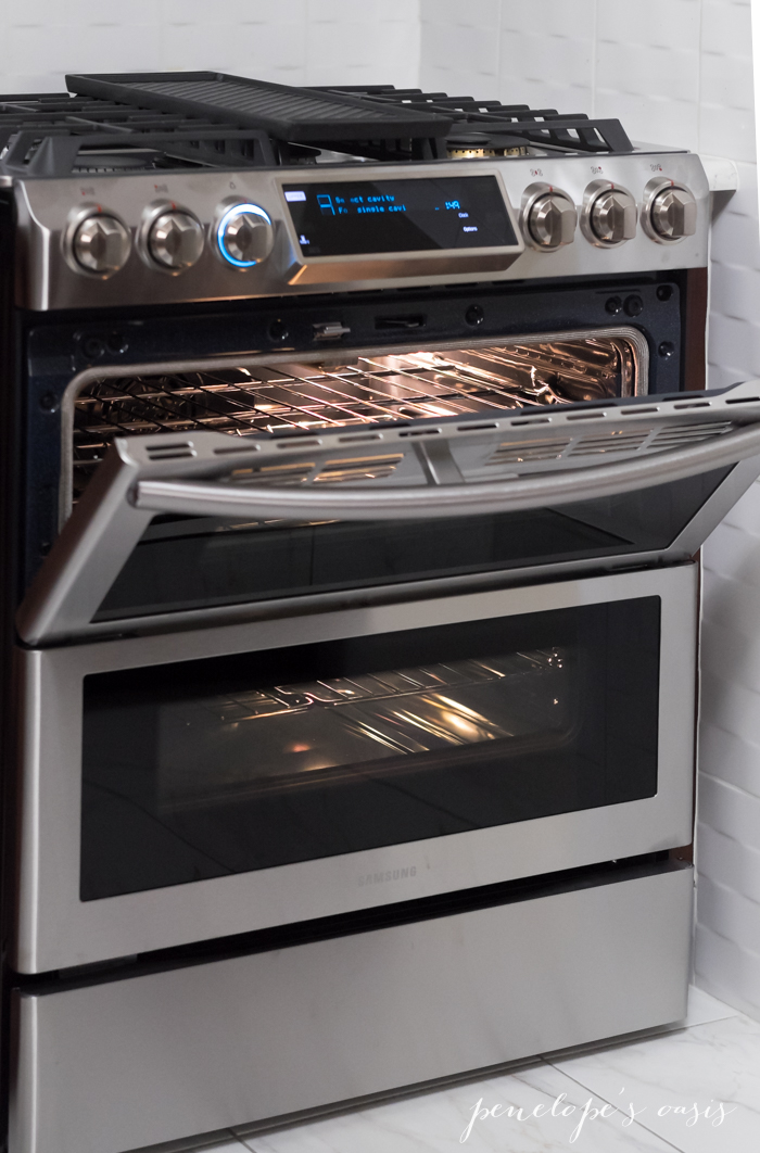 cooking in the kitchen with the samsung flex duo gas range. Black Bedroom Furniture Sets. Home Design Ideas