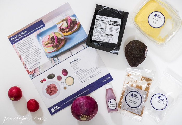 blue apron beef arepas ingredients