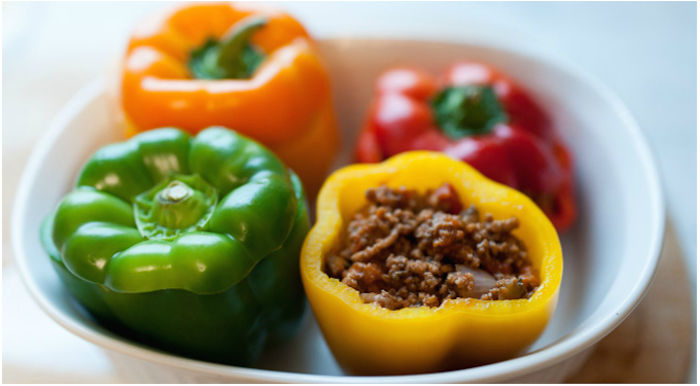 Burger stuffed peppers with Colmans