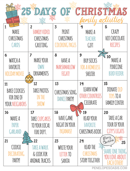 Advent Calendar Art Lesson : Days of christmas advent activities calendar printable