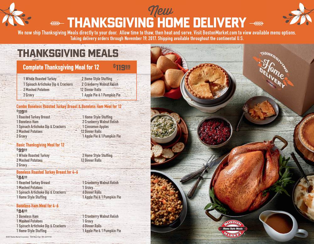 Boston Market Thanksgiving Day menu catering home delivery
