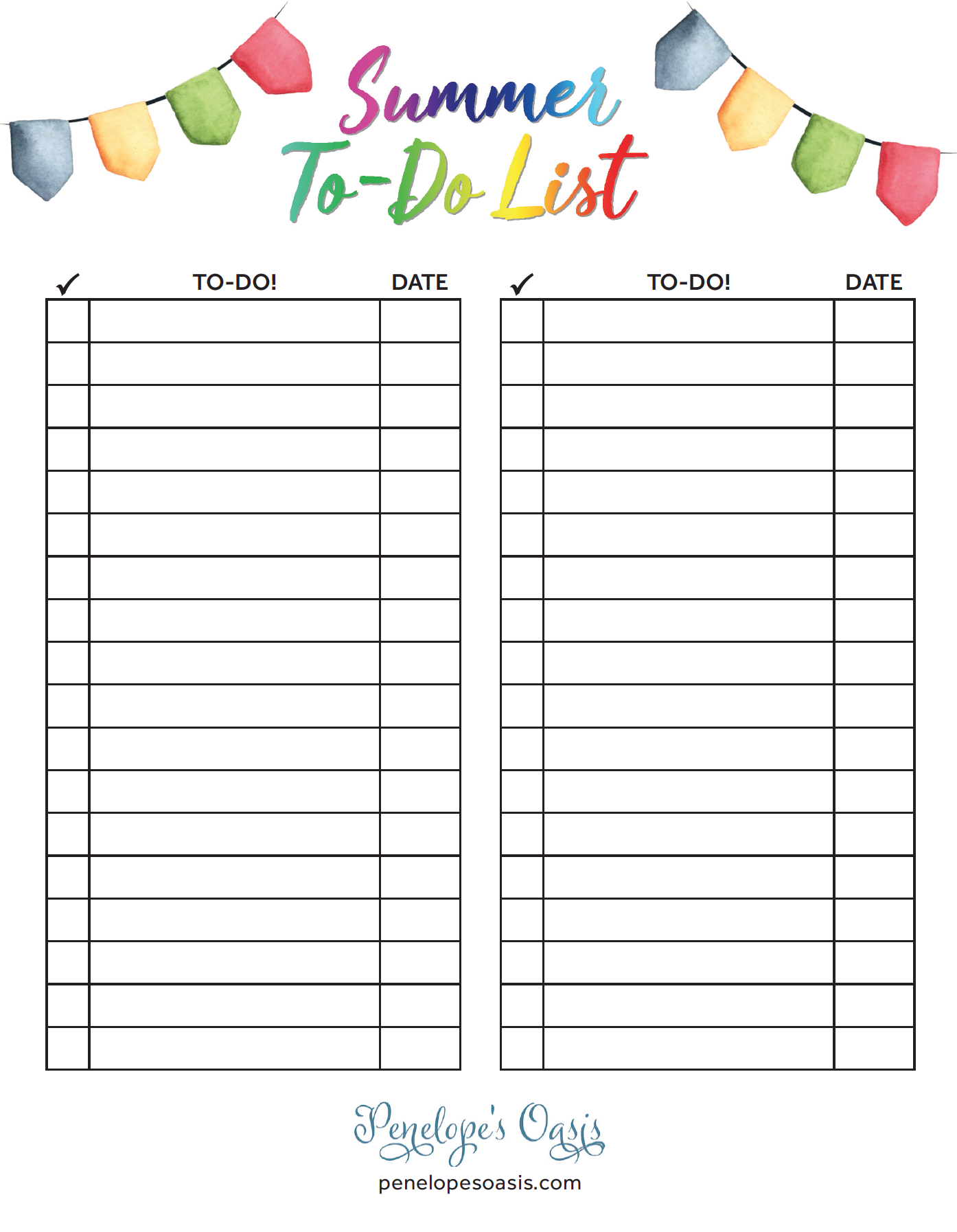 free printable summer to do list